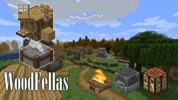 Woodfellas; Cut wood, Create Leather, Craft Bells and Saddles, and Blast Sand to Sandstone Minecraft Data Pack
