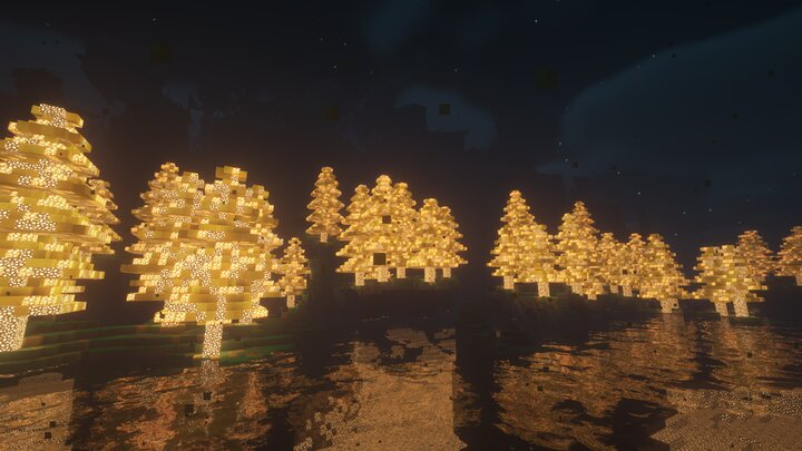 Luminous Lowlands - These trees are placeholders, and will be replaced with custom trees, rather than retextured large spruce trees