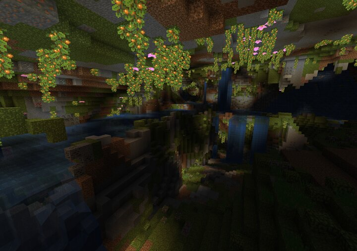 Image of lush caves generating in 21w06a