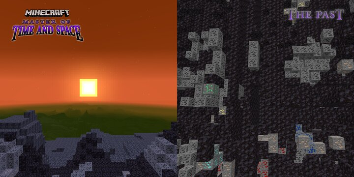 At left, a view of the primordial Past  -  At right, a view of its plentiful ores