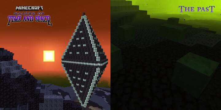 At left, a rare Alien Vestige found in the Past  -  At right, the slimy beginnings of life under its seas