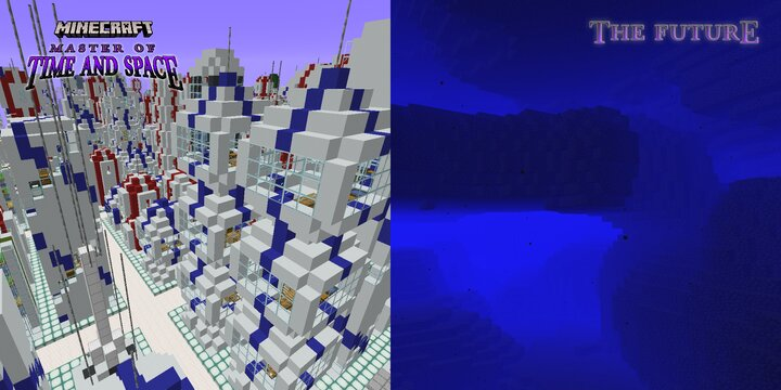 At left, Future cities above the surface  -  At right, the Future's wondrous flooded subterrane