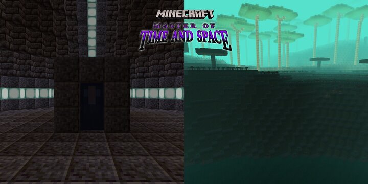 At left, a portal to the Builders' Homeworld inside an Alien Vestige - At right, the Builders' Homeworld itself