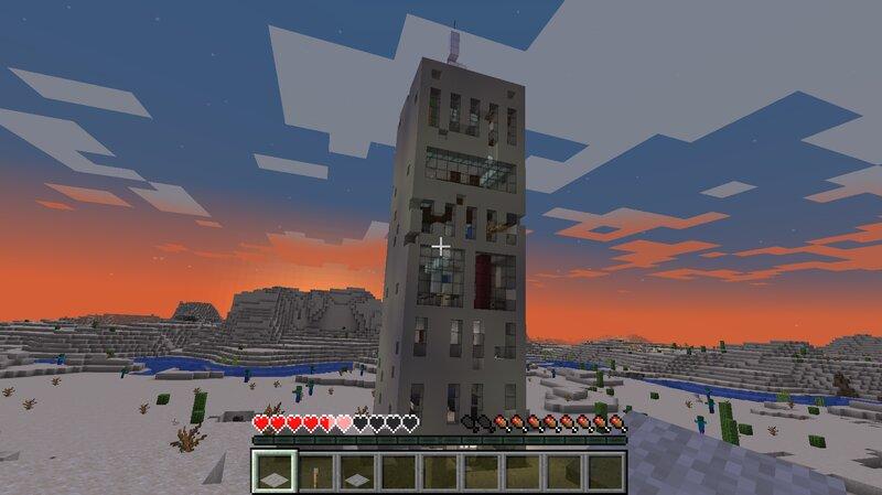Skyscraper in a vanilla desert