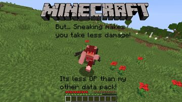 Minecraft but... Sneaking makes you take less damage! Minecraft Data Pack