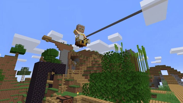You can ride flying mobs, like bees!