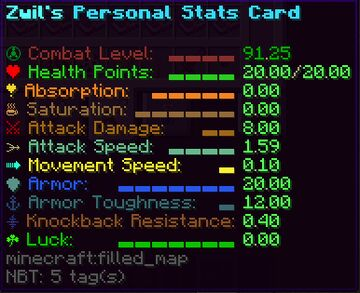 Personal Stats Card Minecraft Data Pack