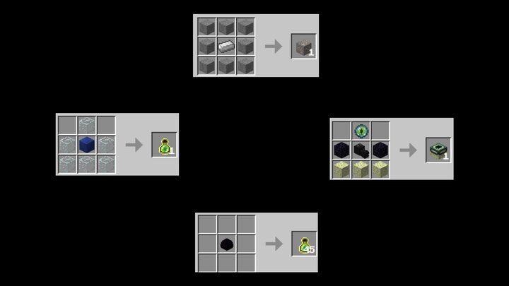 EXP Bottles, Ore All types crafted the same way, End portal frames