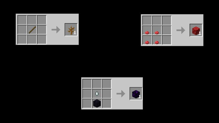 Crying obsidian, Dead bush, Mushroom blocks