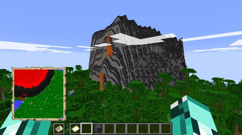 The outside of a volcano