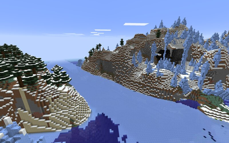 Cold biomes spawn together on separate islands. Here a frozen river cuts through some ice spikes and a snowy taiga.