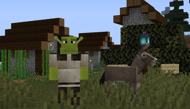Shrek standing outside a village