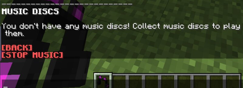 This message pops up if you have not collected any music discs.