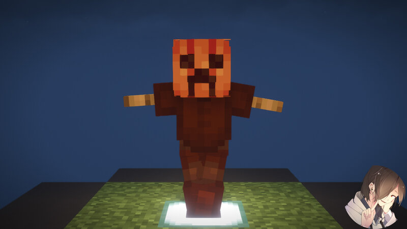 Place the blank costume base on an armorstand to create a scarecrow