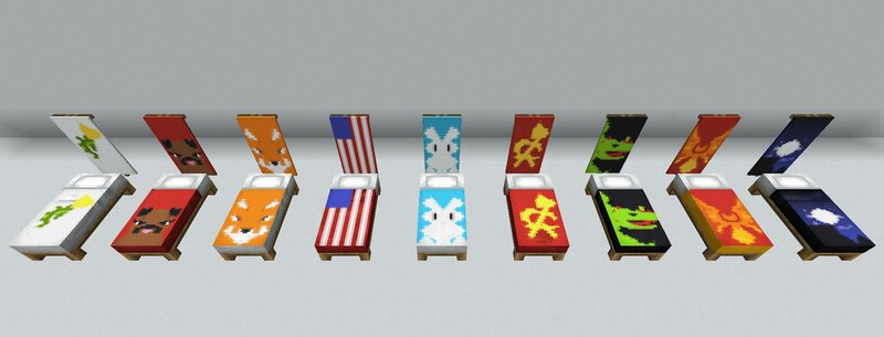 A bunch of popular banner designs placed on beds next to their banner counterparts