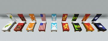 Banners on beds Minecraft Data Pack
