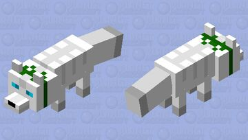 Arctic Fox with a Green Bow Minecraft Mob Skin