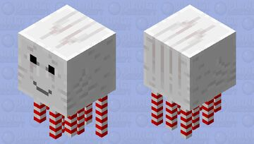 An adorable candy cane Ghast Minecraft Mob Skin