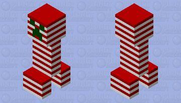 Candy Cane Creeper Minecraft Mob Skin