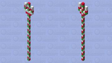 Red & Green Peppermint Trident Minecraft Mob Skin