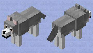 Gray Siberian Husky Minecraft Mob Skin