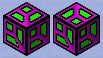 "Geometry Dash (Purple and Green ""Perpendicular"" Cube) -- Unlock in Geometry Dash by typing in the number of stars you have earned in the ""Vault of Secrets"" Minecraft Mob Skin"