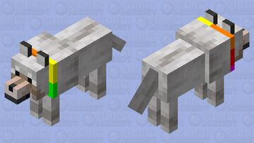tamed wolf BUT it has a rainbow collar! Minecraft Mob Skin