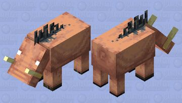 This hoglin lost its ears, but however it does not care at all. Minecraft Mob Skin