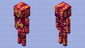 Flaming Skeleton of the Blazing Nether Minecraft Mob Skin