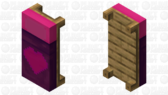 Pink and Purple Heart Bed Minecraft Skin