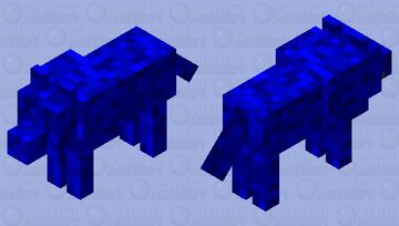 Gliched Blue Abstract Wolf Minecraft Mob Skin