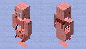 I tried to make man killing Pig using a Vindicator body. HELP ME Minecraft Mob Skin
