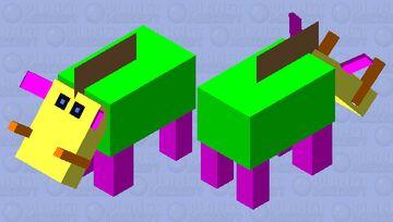 Weird multi colored clown Hoglin Minecraft Mob Skin