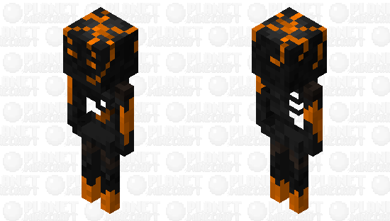 Red Lava Skeleton Minecraft Skin