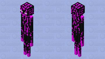 Enderman, but the details are illuminated with purple Minecraft Mob Skin
