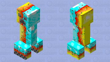 Fire 🔥 and ice 🧊 creeper (credits to evil little kelly) Minecraft Mob Skin
