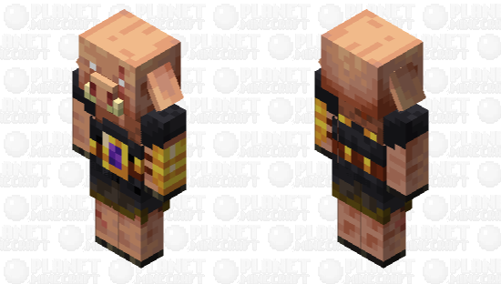 Piglin Brute, but there is a mini nether portal on his belt. Minecraft Skin