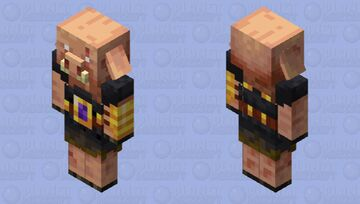 Piglin Brute, but there is a mini nether portal on his belt. Minecraft Mob Skin