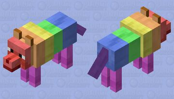 Rainbow Wolf (As Requested by PuppyAvenger21) Minecraft Mob Skin