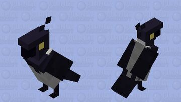 Hooded Crow with yellow eyes Minecraft Mob Skin