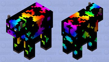 Rainbow cow Minecraft Mob Skin
