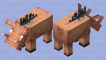 Hoglin with Fleshly Horns Minecraft Mob Skin