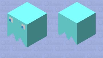 Turquoise Pac-Man Ghost Minecraft Mob Skin
