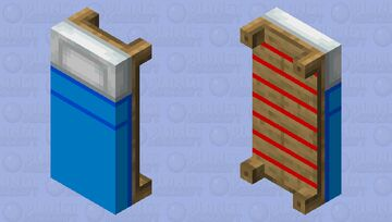 Blue Bed with red stripes on back Minecraft Mob Skin
