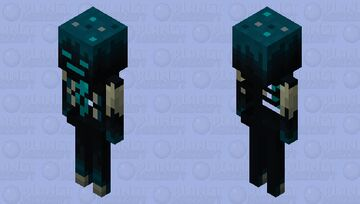 Sculk skeleton with glowing soul (request by Withersoul111) Minecraft Mob Skin