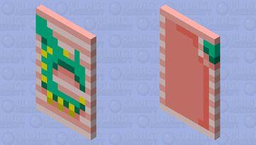 Green Dragon Cape w/ Pink Stripes. Minecraft Mob Skin