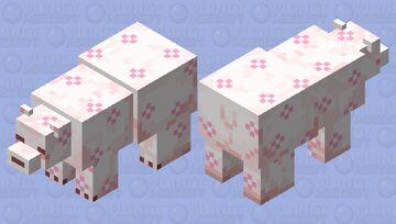 *~.pink flower polar bear.~* Minecraft Mob Skin