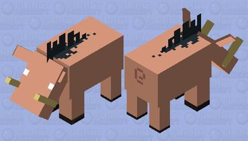 Simplified Hoglin Minecraft Mob Skin