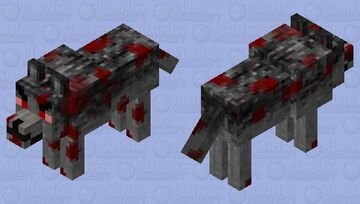 Angry Bloody Wolf Minecraft Mob Skin