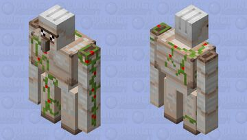 Kawaii golem with red stuff on its vines instead of yellow Minecraft Mob Skin
